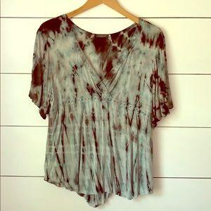 Tie Dye Flutter Sleeve Top w/ Crochet Detail